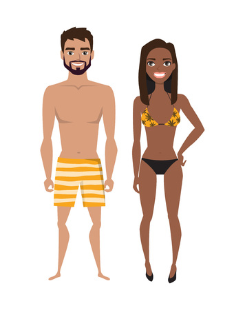 Multiracial young man and women in beach swimsuit