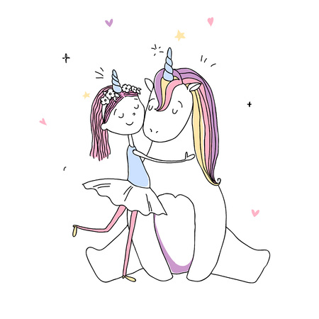 a cute girl hugs a unicorn. hand drawn illustration