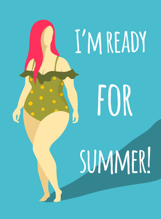 plump woman in beach swimsuit. flat isolated vector illustration