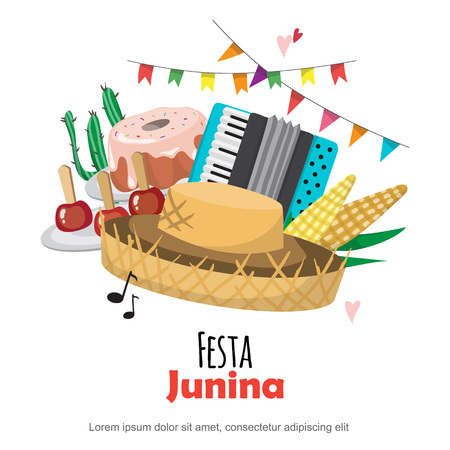 Festa Junina - Brazil June Festival. Folklore Holiday. Vector design set.