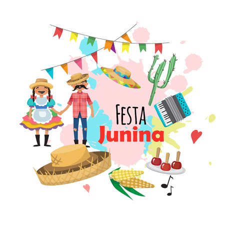 Festa Junina - Brazil June Festival. Folklore Holiday. Characters. Vector set. 向量圖像