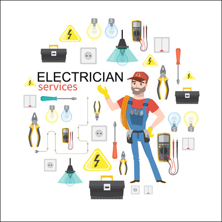 electrician services. Professional electrician infographics electricity tools installation Vector Illustratie