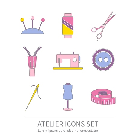 Set of sewing and needlework line icons. Tailor