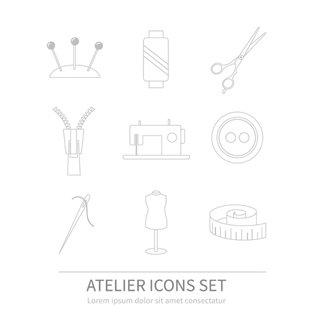 Set of sewing and needlework line icons. Tailor 版權商用圖片 - 114965884