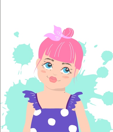 Cute girl with pink hair. Vector cartoon illustration