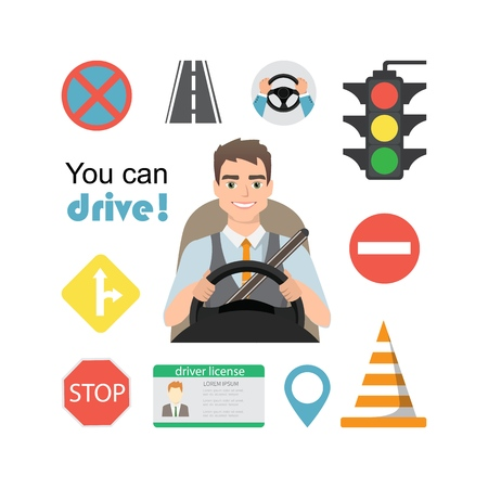 Set of road symbols and driver character. Isolated vector elements 版權商用圖片 - 111999636