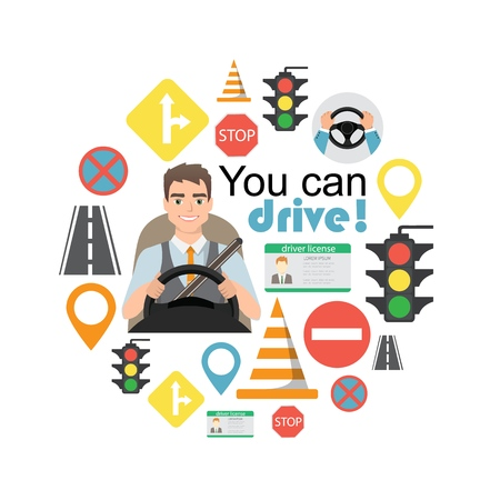 Set of road symbols and driver character. Isolated vector elements