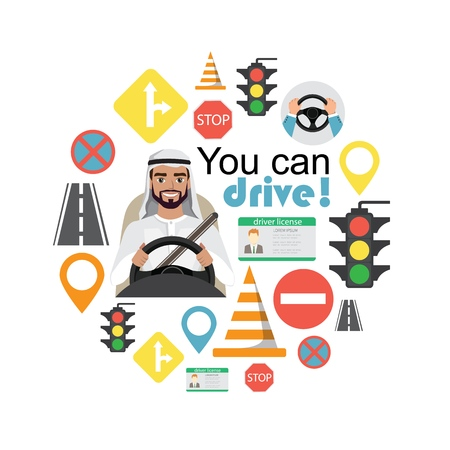Set of road symbols and driver arab man character. Isolated vector elements