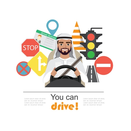 Set of road symbols and driver arab men character. Isolated vector elements 版權商用圖片 - 111903657