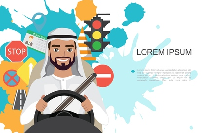 Set of road symbols and driver arab men character. Isolated vector elements