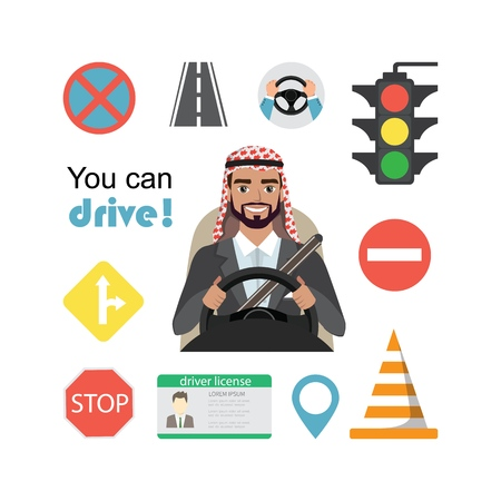Set of road symbols and driver arab businessman character. Isolated vector elements 向量圖像