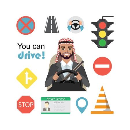Set of road symbols and driver arab businessman character. Isolated vector elements 版權商用圖片 - 110508226