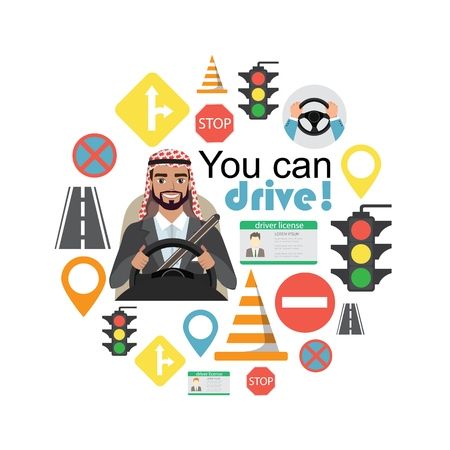 Set of road symbols and driver arab businessman character