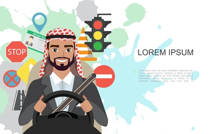 Banner illustration of road symbols and driver arab businessman character 版權商用圖片