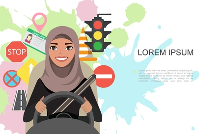 Banner illustration of road symbols and driver arab businesswomen character