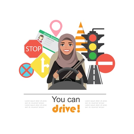 Set of road symbols and driver arab businesswomen character. Isolated vector elements