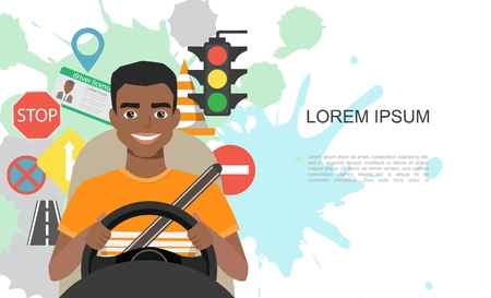 Banners illustration of road symbols and black african american man driver character