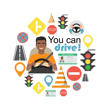 Set of road symbols and black african american man driver character. Isolated vector elements Illustration