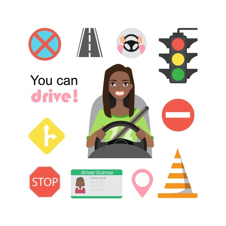 Set of road symbols and black african american woman driver character