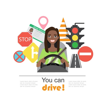 Set of road symbols and black african american woman driver character. Isolated vector elements Stockfoto - 110329634