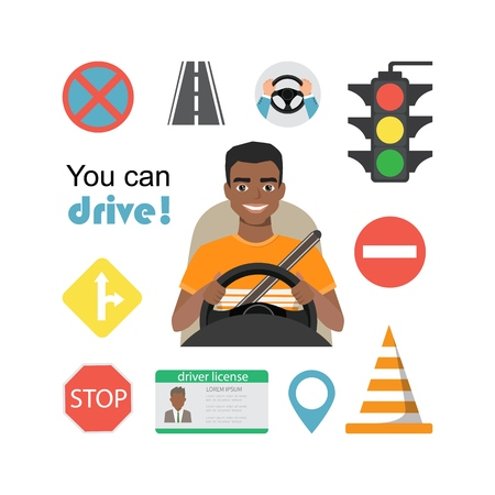 Set of road symbols and black african american man driver character. Isolated vector elements 向量圖像