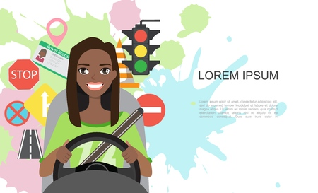 Set of road symbols and black african american woman driver character. Isolated vector elements Illustration