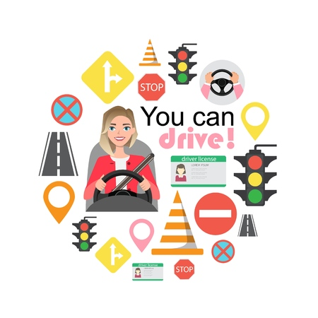 Set of road symbols and woman driver character. Isolated vector elements Illustration