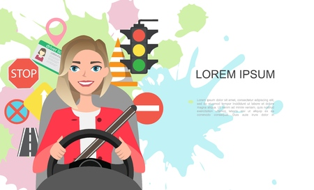 Banner illustration of road symbols and woman driver character 版權商用圖片