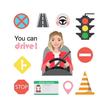 Set of road symbols and woman driver character