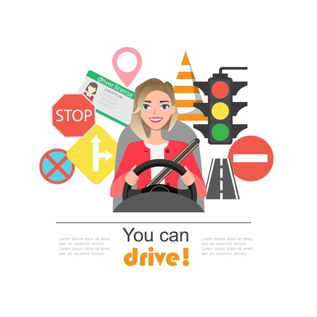 Set of road symbols and woman driver character. Isolated vector elements 向量圖像