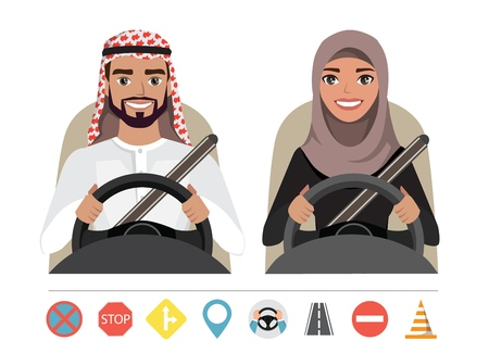 Muslim man and woman driving a car. Silhouette of a woman and a man who sit behind the wheel. Set of roads simbols 向量圖像