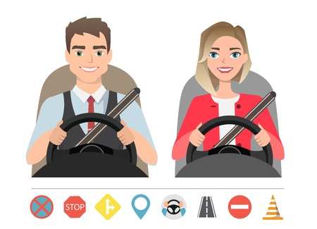 Man and woman driving a car. Silhouette of a woman and a man who sit behind the wheel. Set of roads simbols Illustration