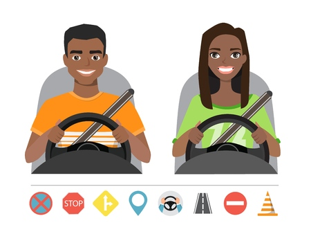 Black african american man and woman driving a car. Silhouette of a woman and a man who sit behind the wheel. Set of roads simbols