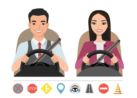 Asian man and woman driving a car. Silhouette of a woman and a man who sit behind the wheel. Set of roads simbols