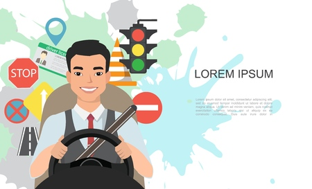 Banner illustration of road symbols and asian man driver character 版權商用圖片