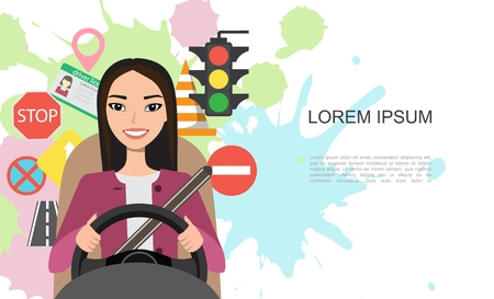 Banner illustration of road symbols and asian woman driver character 版權商用圖片