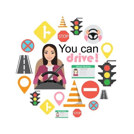 Set of road symbols and asian woman driver character Illustration