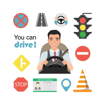 Set of road symbols and asian man driver character. Isolated vector elements