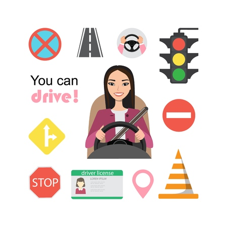 Set of road symbols and asian woman driver character. Isolated vector elements 版權商用圖片