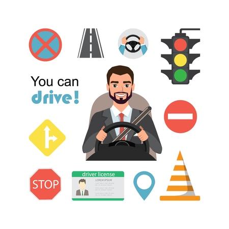 Businessman drive a car. Set of road symbols and driver character