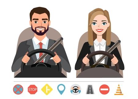 Homme d'affaires et femme d'affaires au volant d'une voiture. Silhouette d'une femme et d'un homme assis derrière le volant. Ensemble de simboles de routes