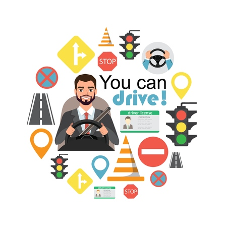 Businessman drive a car. Set of road symbols and driver character