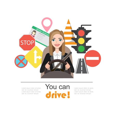 Businesswomen drive a car. Set of road symbols and woman driver character