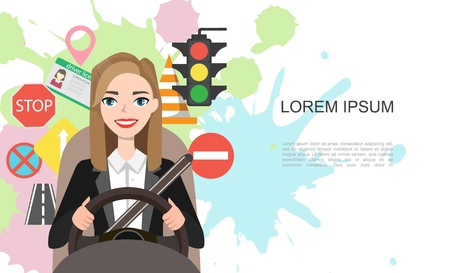 Banner illustration of businesswomen driving a car. Set of road symbols and woman driver character