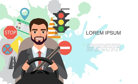 Banner illustration of businessman driving a car. Set of road symbols and driver character