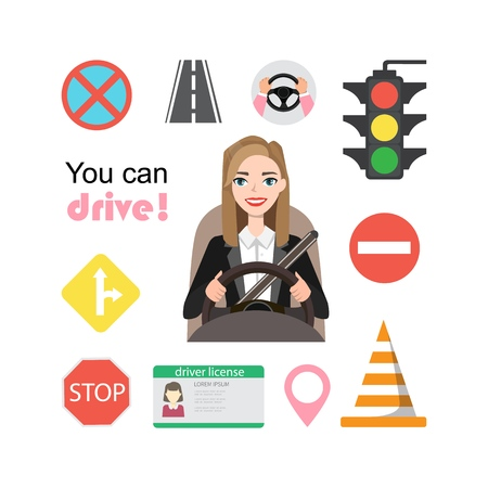 Businesswomen drive a car. Set of road symbols and woman driver character. Isolated vector elements 向量圖像