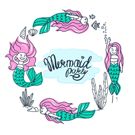 Cute Mermaid character in hand drawn style. Set of beautiful mermaids with pink hair. Vector illustrations.