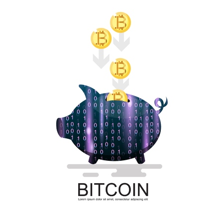 piggy bank with lots of bitcoins, isolated on white background Illustration