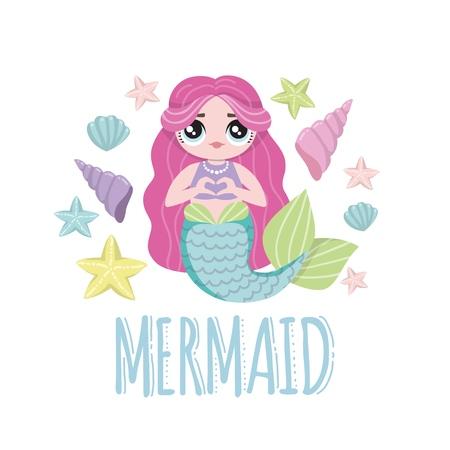 Cute Mermaid character in cartoon lol style. Mermaid with pink hair. Vector illustrations.