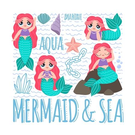 Cute Mermaid character in cartoon lol style. Set of beautiful mermaids with pink hair. Vector illustrations.